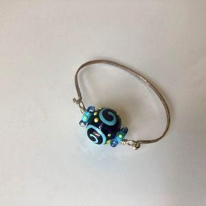 Handmade Silver Bracelet with Glass Beads